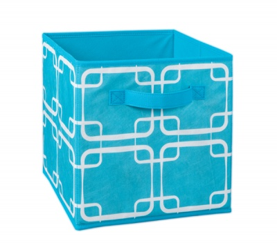 1846 - Ocean Blue Square Print Fabric Drawer