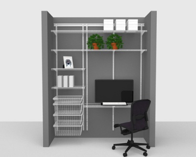 Adjustable Office Package 3 - ShelfTrack with Linen shelving up to 1,83m/ 6' wide