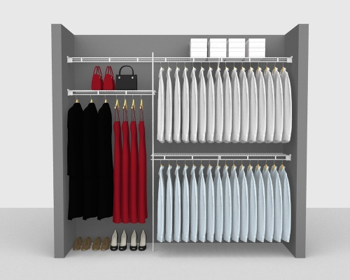 Fixed Mount Package 1 - Shelf & Rod shelving up to 244cm / 8' wide