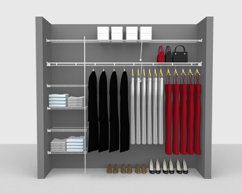 Fixed Mount Package 3 - Shelf & Rod shelving up to 244cm / 8' wide