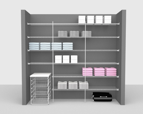 Fixed Mount Package 3 - Linen shelving up to 244cm / 8' wide