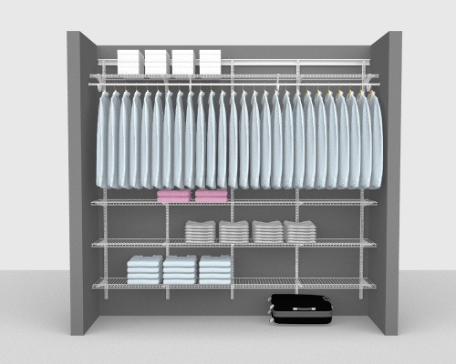 Adjustable Package 6 - ShelfTrack with Linen shelving up to 244cm / 8' wide