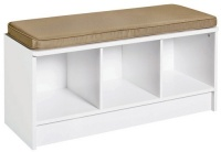 1569 - 3 Cube White Storage Bench