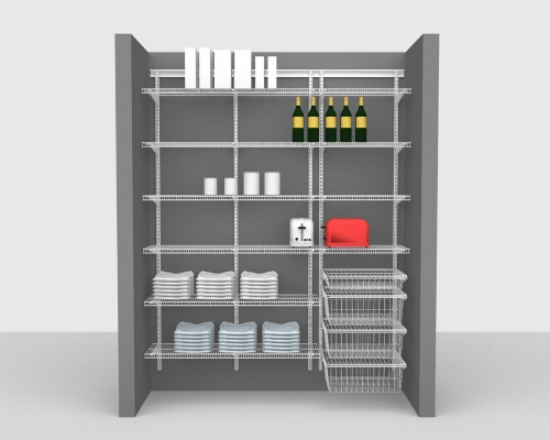 Adjustable Package 2 - ShelfTrack with CloseMesh shelving up to 183cm / 6' wide