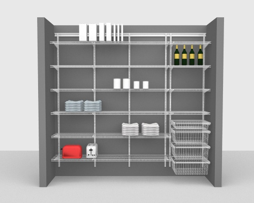 Adjustable Package 2 - ShelfTrack with CloseMesh shelving up to 244cm / 8' wide