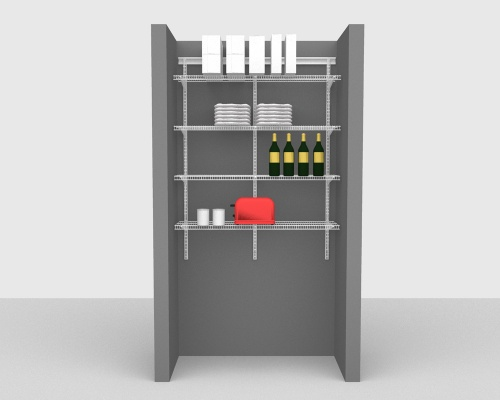 Adjustable Package 3 - ShelfTrack with CloseMesh shelving up to 122cm / 4' wide