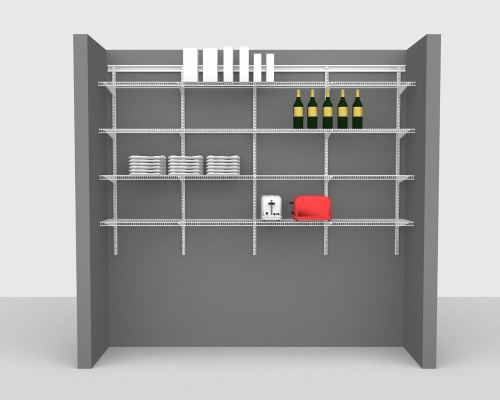 Adjustable Package 3 - ShelfTrack with CloseMesh shelving up to 244cm / 8' wide