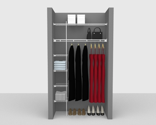 Fixed Mount Package 3 - Shelf & Rod shelving up to 122cm / 4' wide